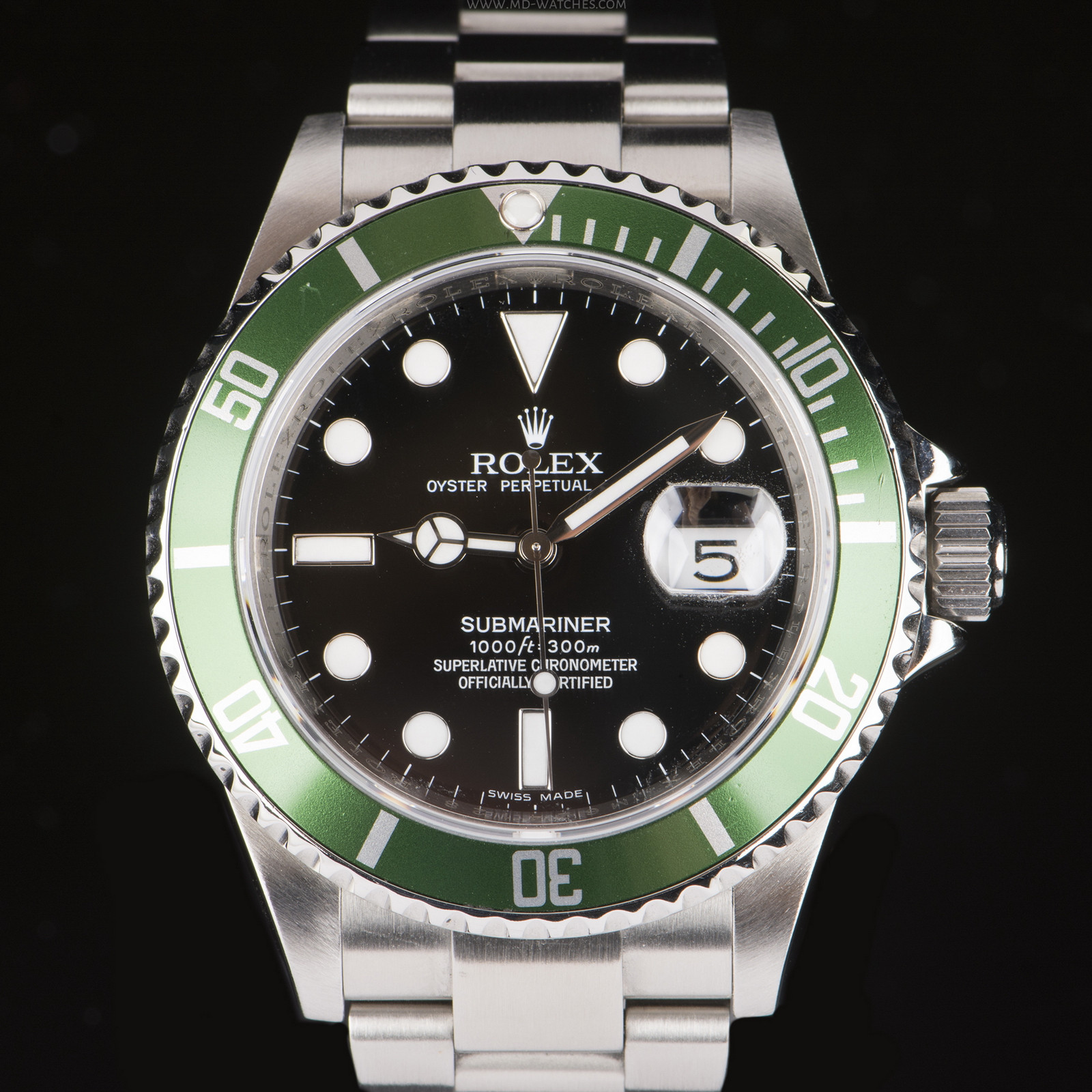 buy rolex submariner date green bezel 50th anniversary 16610lv pre owned watches. Black Bedroom Furniture Sets. Home Design Ideas