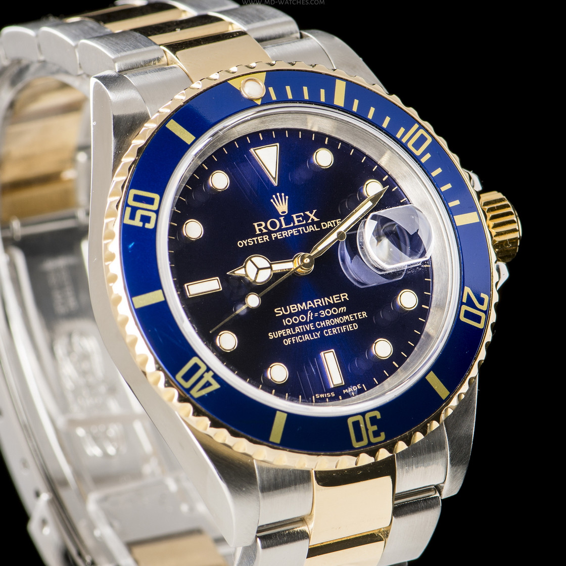 rolex submariner date ref 16613lb two tone gold steel 40mm md watches. Black Bedroom Furniture Sets. Home Design Ideas