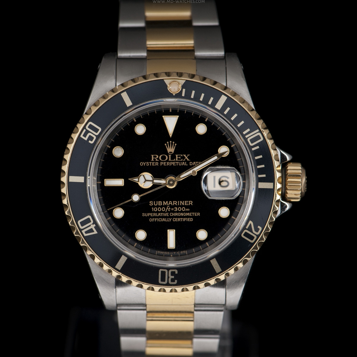 rolex submariner date ref 16613ln two tone gold steel 40mm md watches. Black Bedroom Furniture Sets. Home Design Ideas