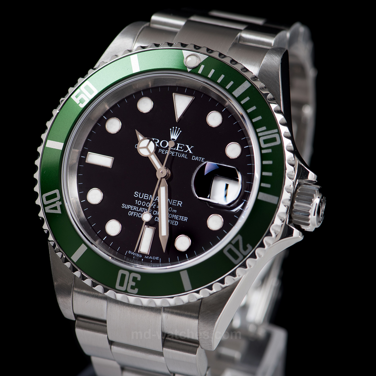 rolex submariner date green bezel 50th anniversary 16610lv. Black Bedroom Furniture Sets. Home Design Ideas